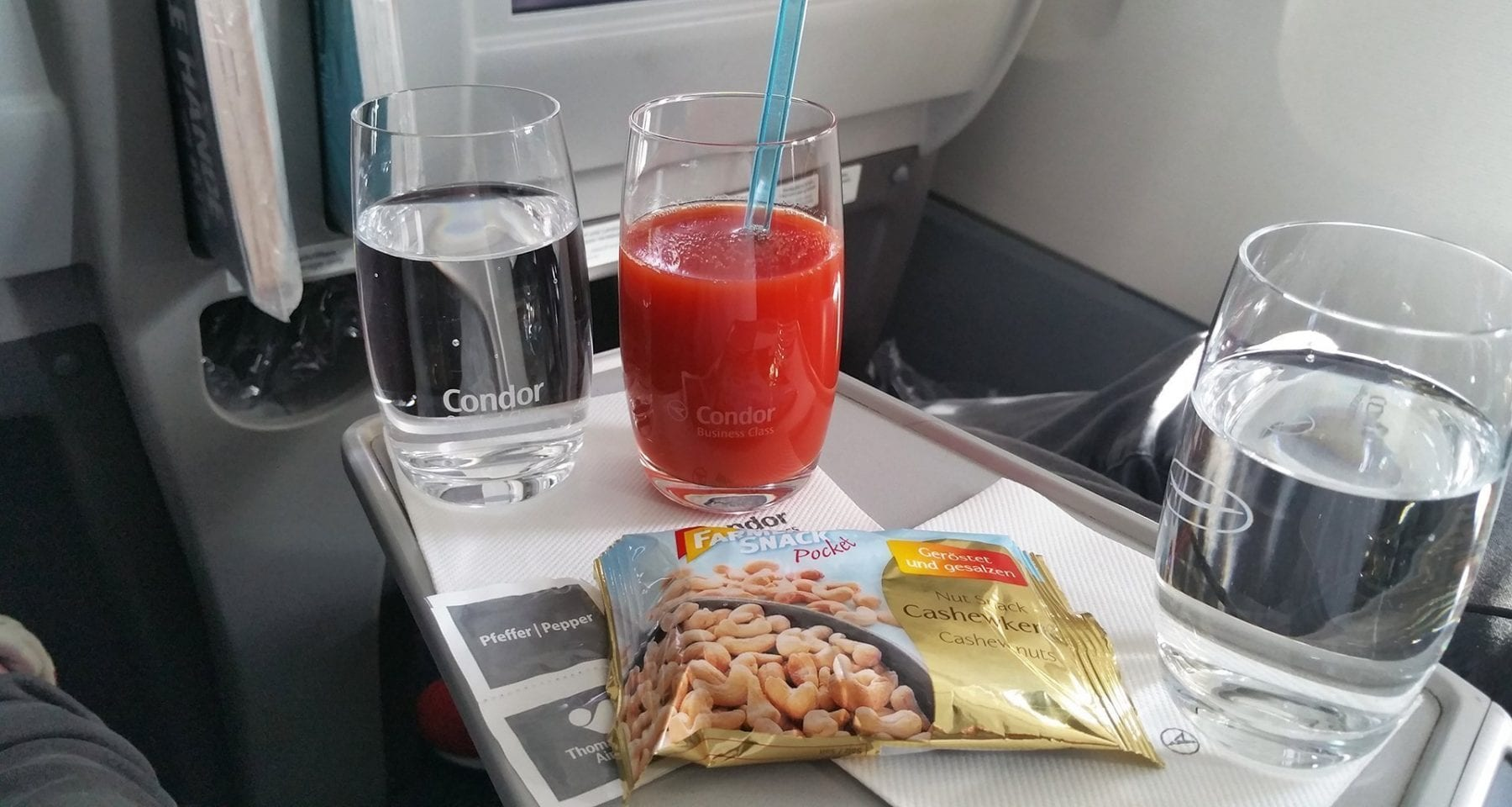 condor airlines business class drink and snack service