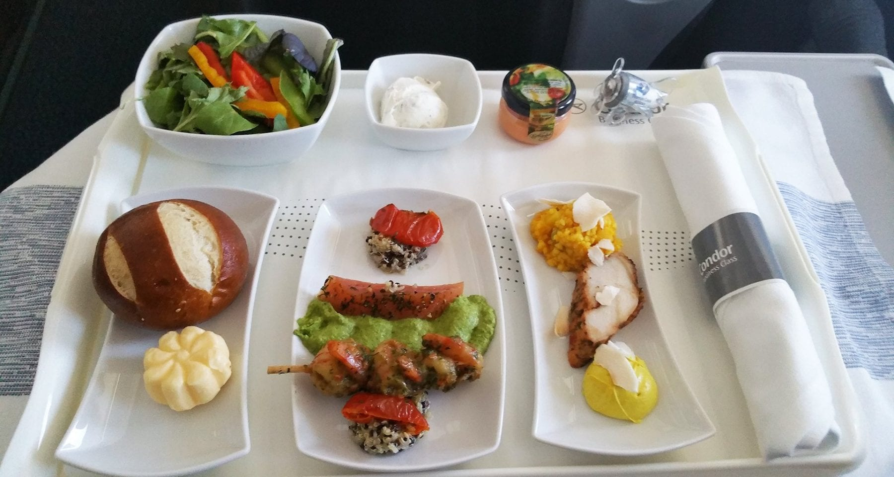 condor airlines business class entree plates