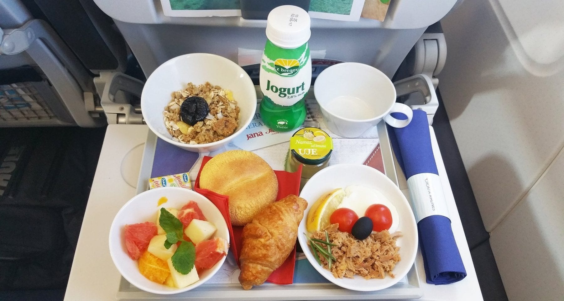 croatia airlines business class meal
