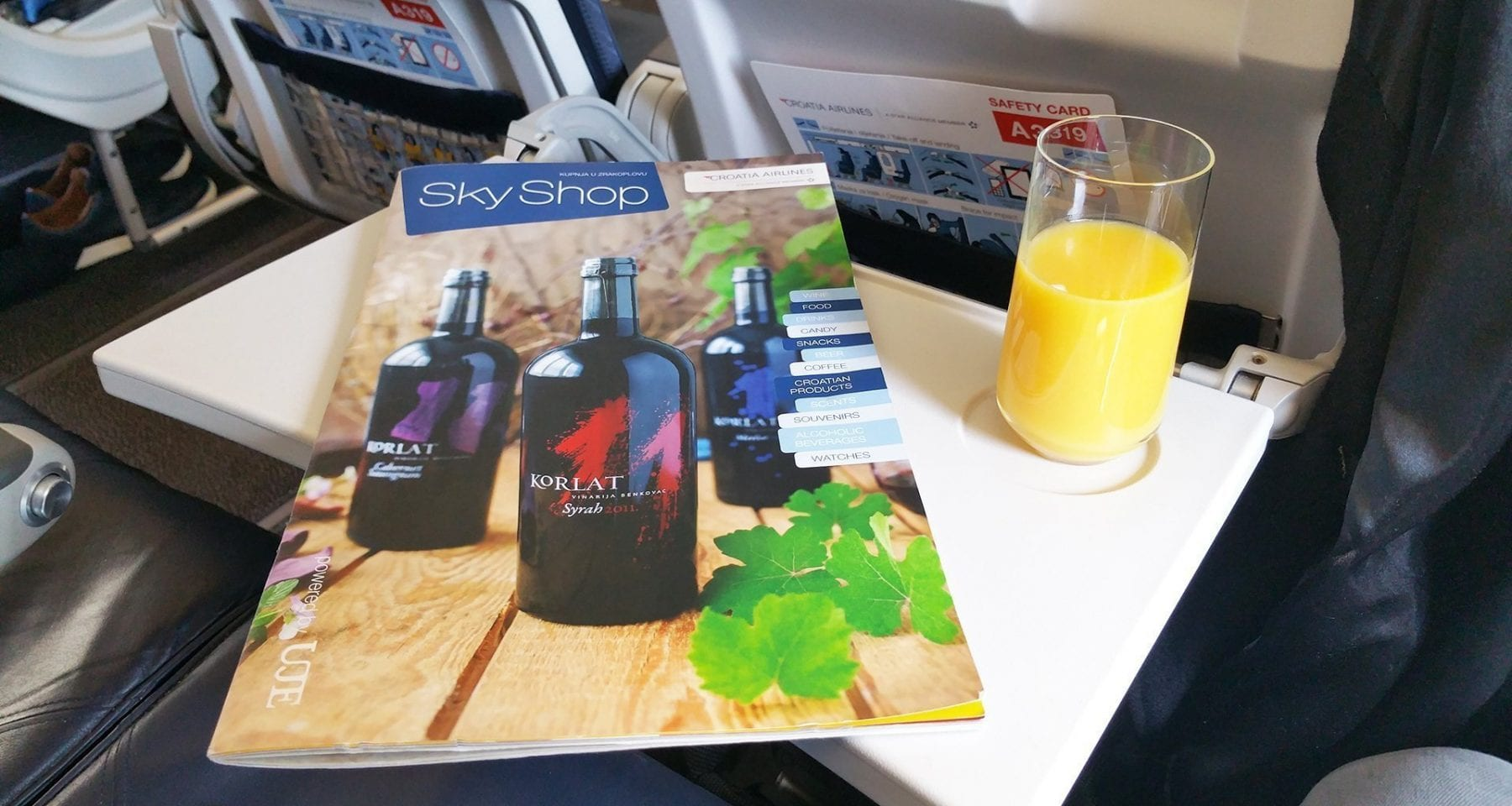 croatia airlines business class welcome drink