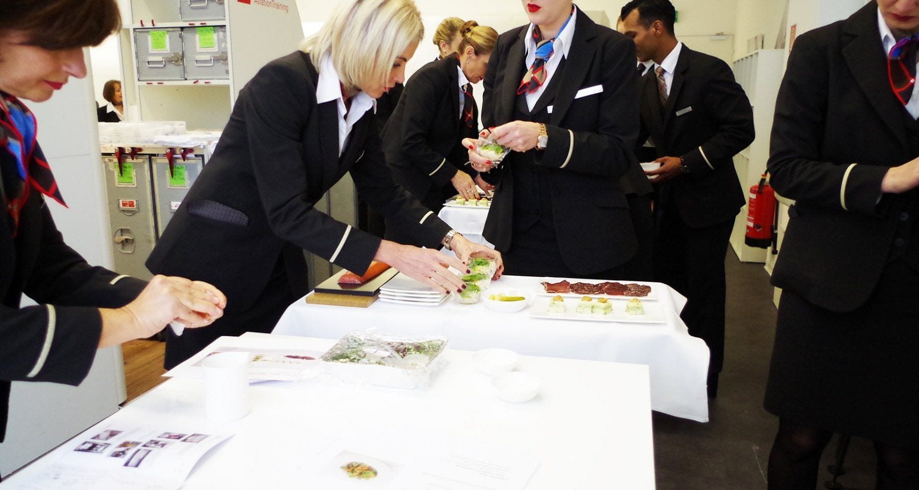 Swiss First Class cabin crew food training