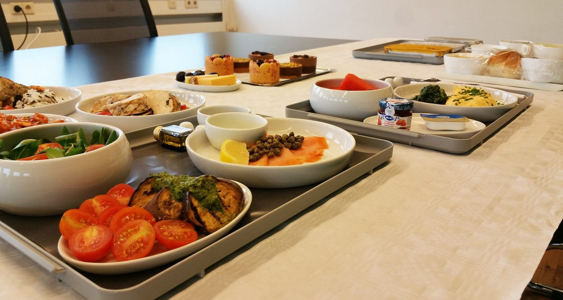 Aeromexico business class inflight meal selection at Gate Gourmet in Amsterdam