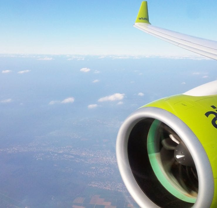 Air Baltic wing and engine view