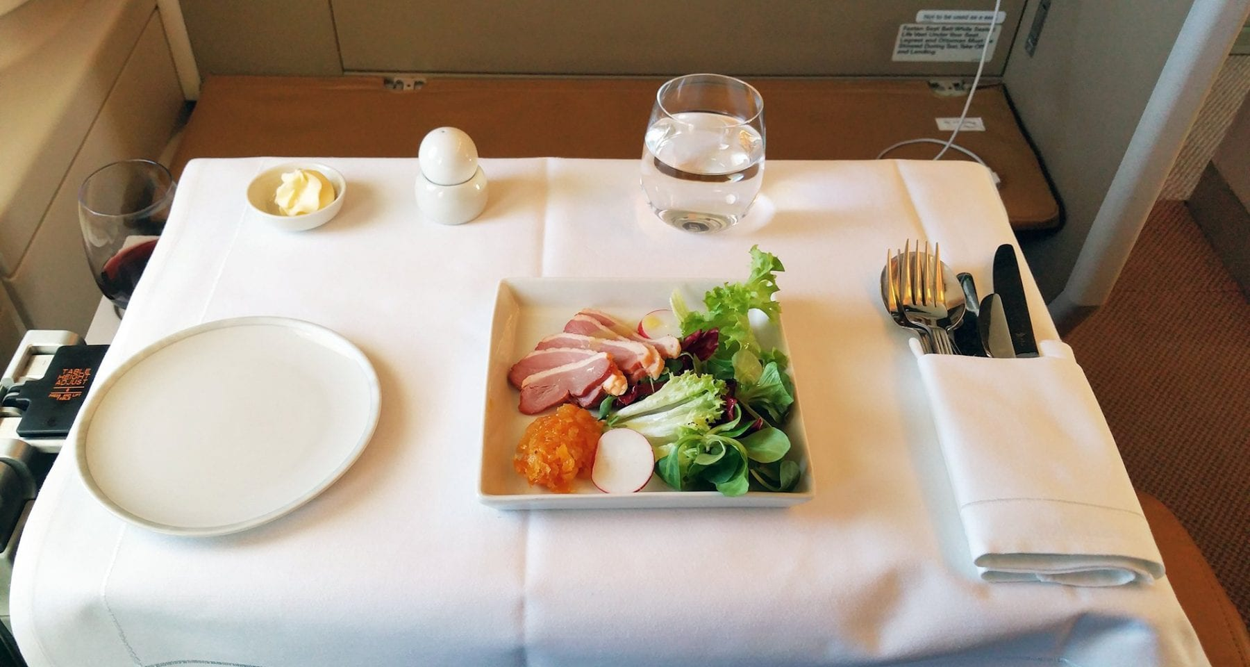 Duck entree served in Business Class on Singapore Airlines from Zurich to Singapore