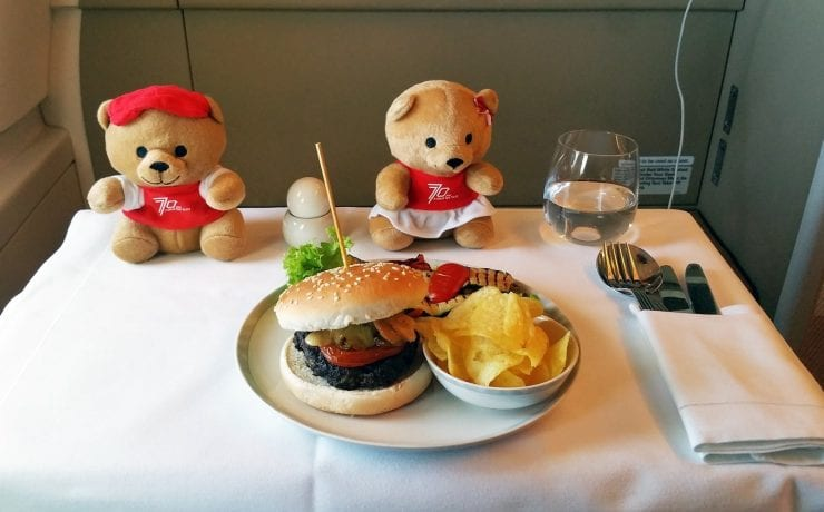 Singapore airlines business class kids burger meals
