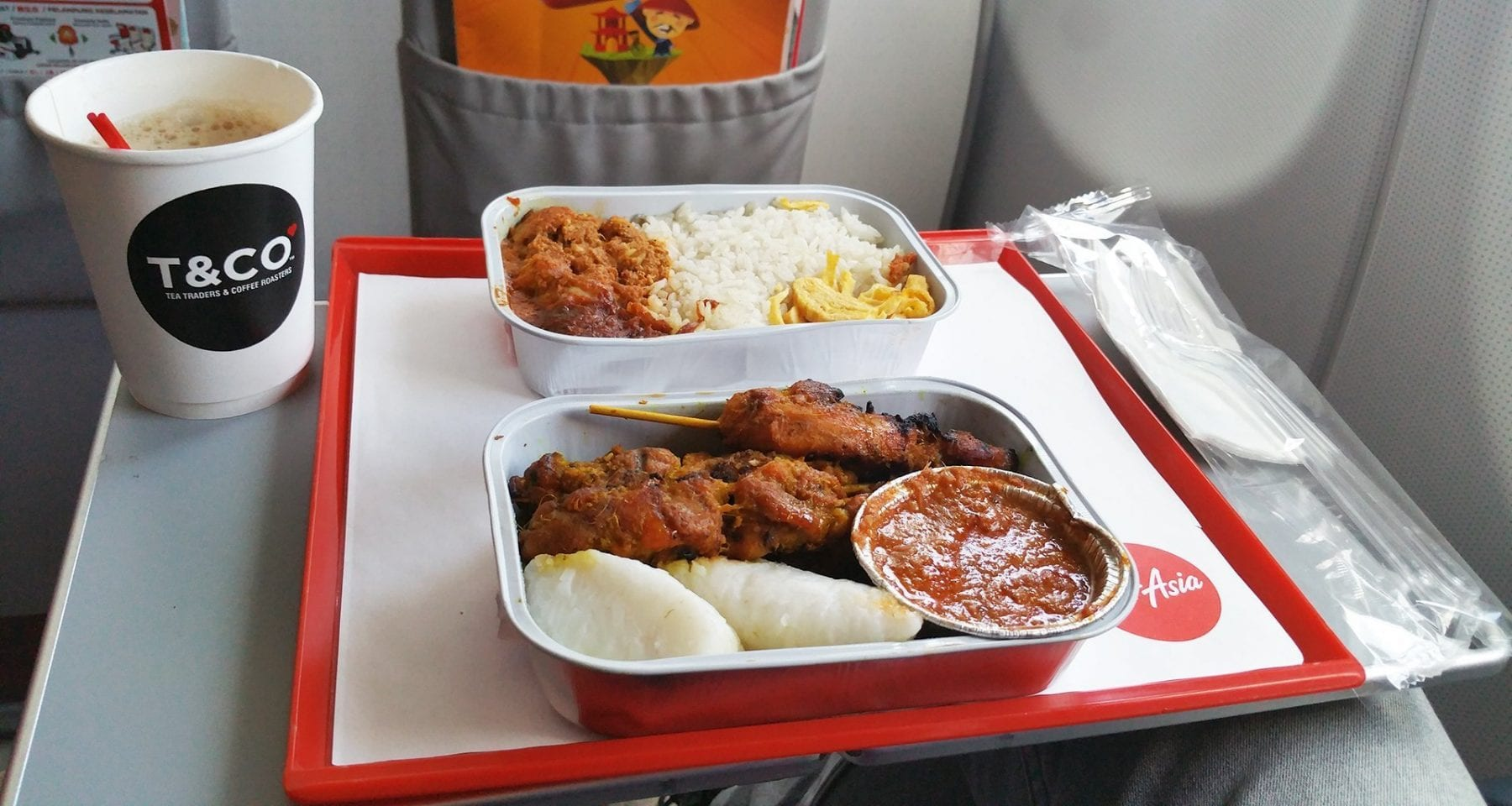 Air Asia Chicken Satay and Nasi Lemak meals