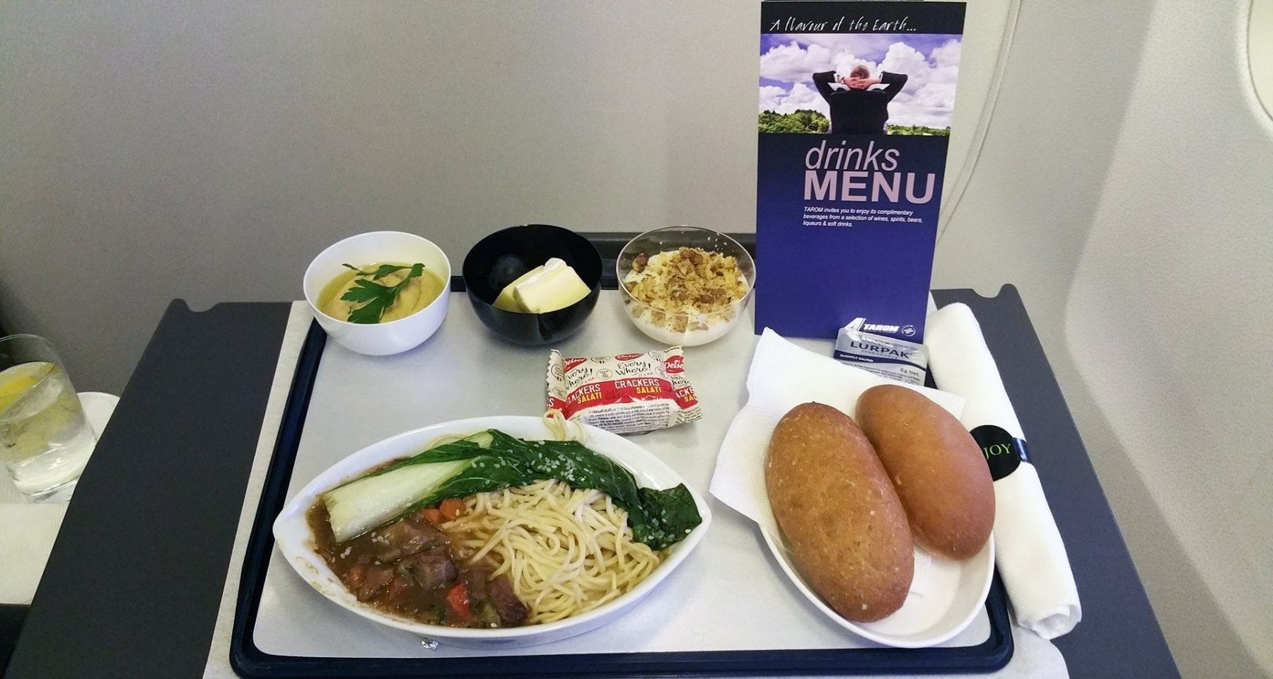 Business class meal on Tarom Airlines