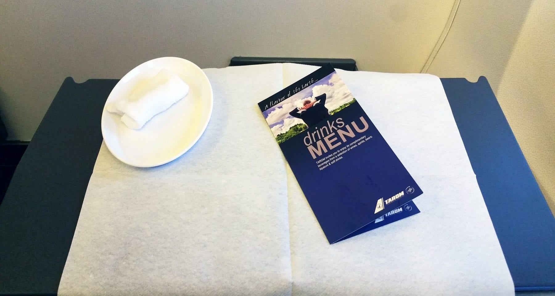 Tarom Airlines hot towel and drinks menu