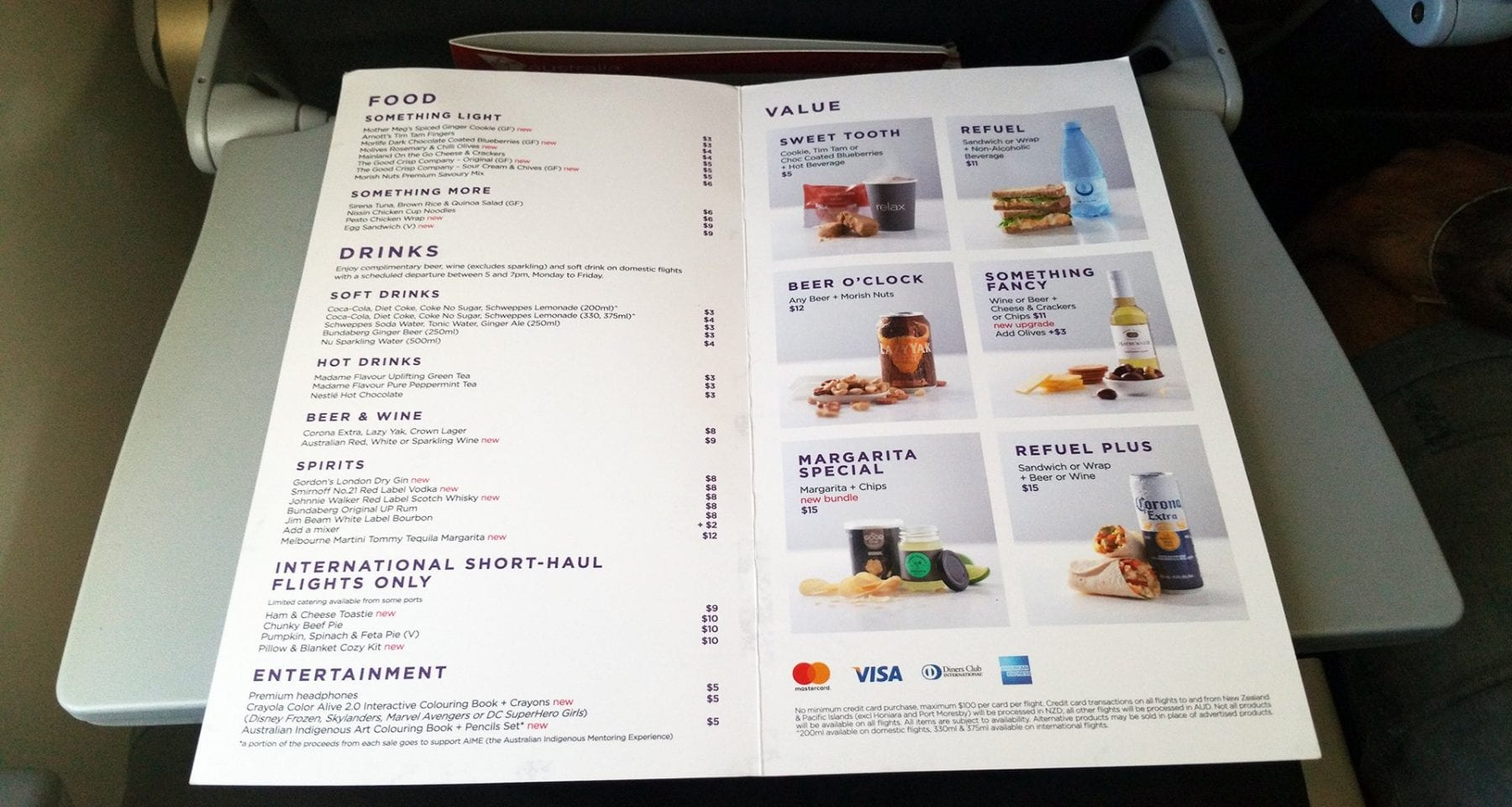 virgin australia inflight menu