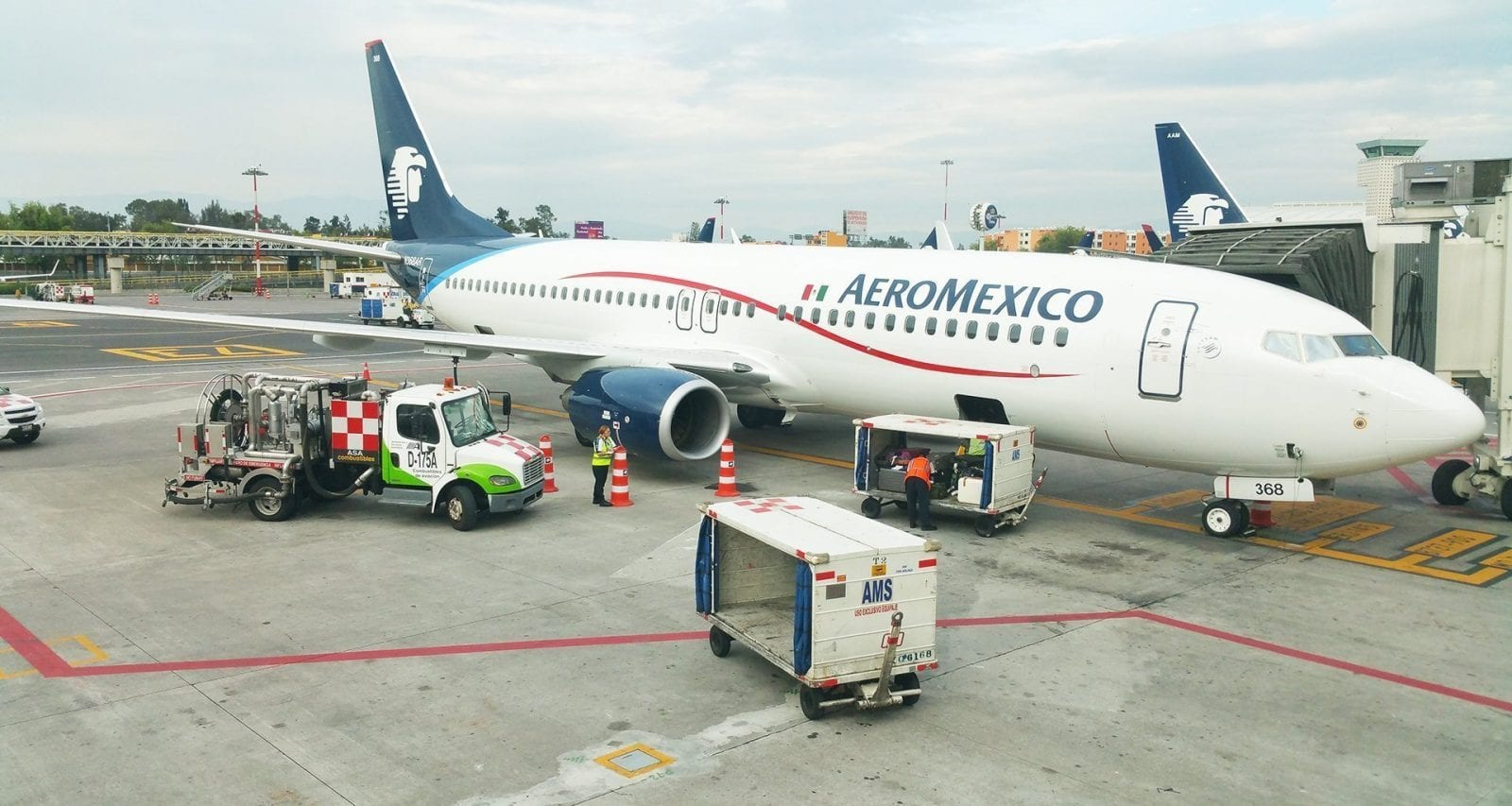 Aeromexico Boeing 737 at gate at Mexico City Airport