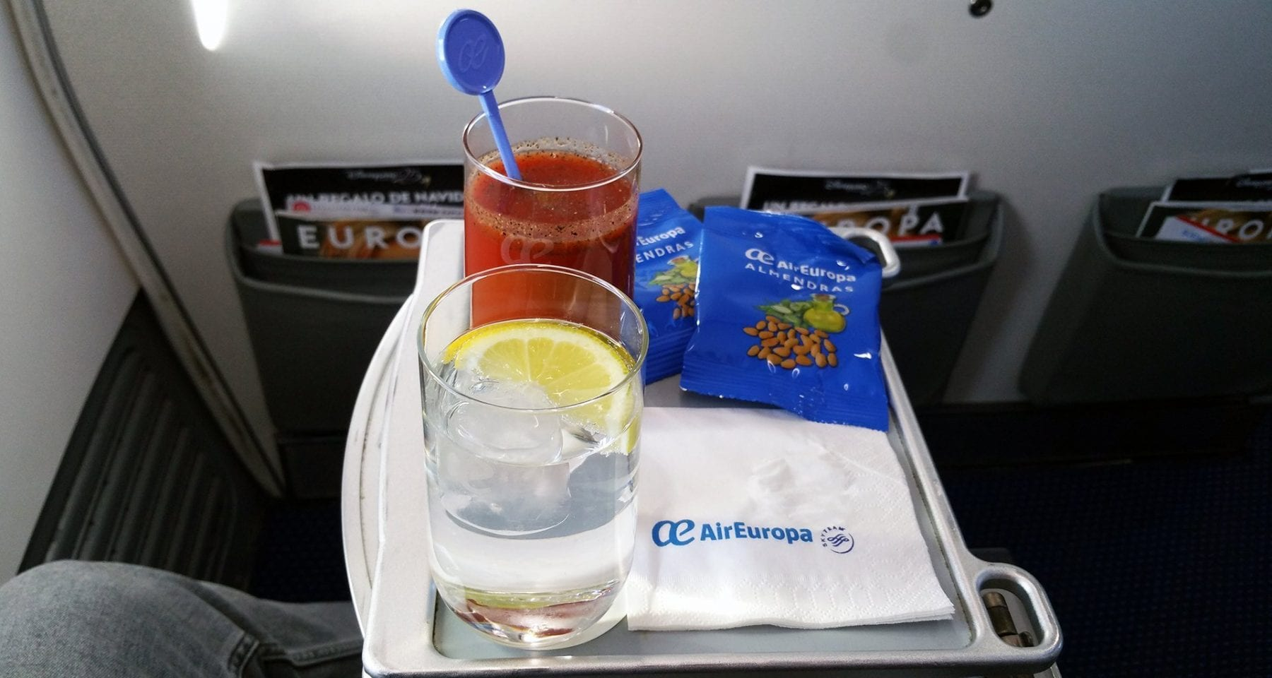 air europa business class welcome drink