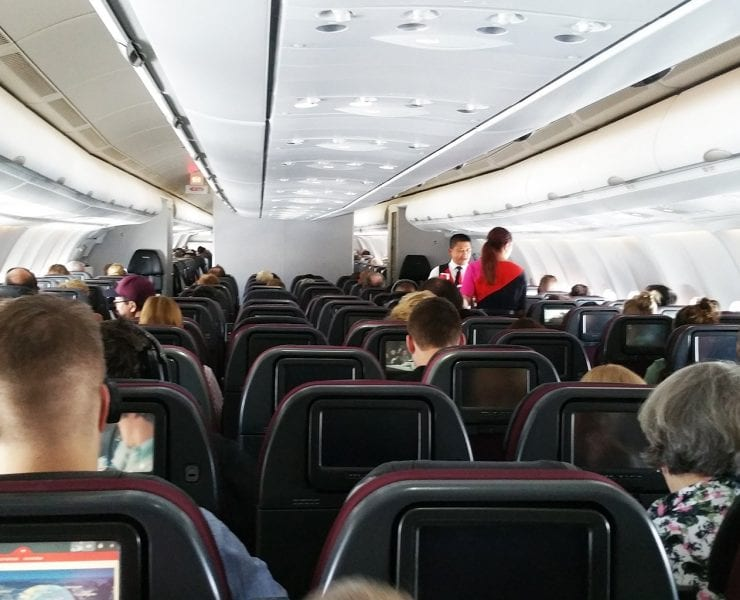 Qantas cabin inflight A330 Melbourne to Sydney