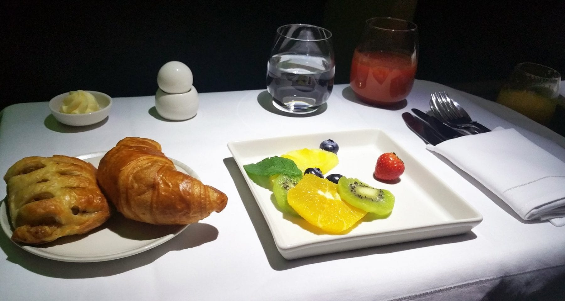 Singapore Airlines business class fruit