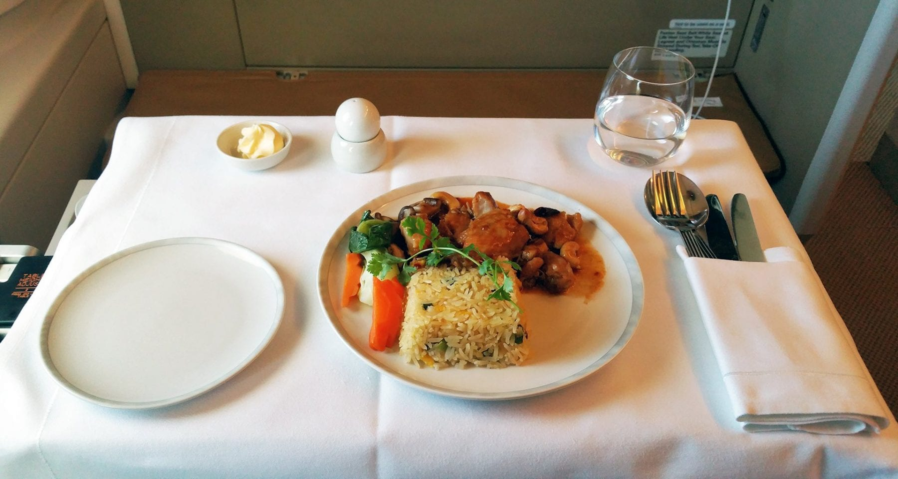 Singapore airlines business class lunch offering from Zurich to Singapore