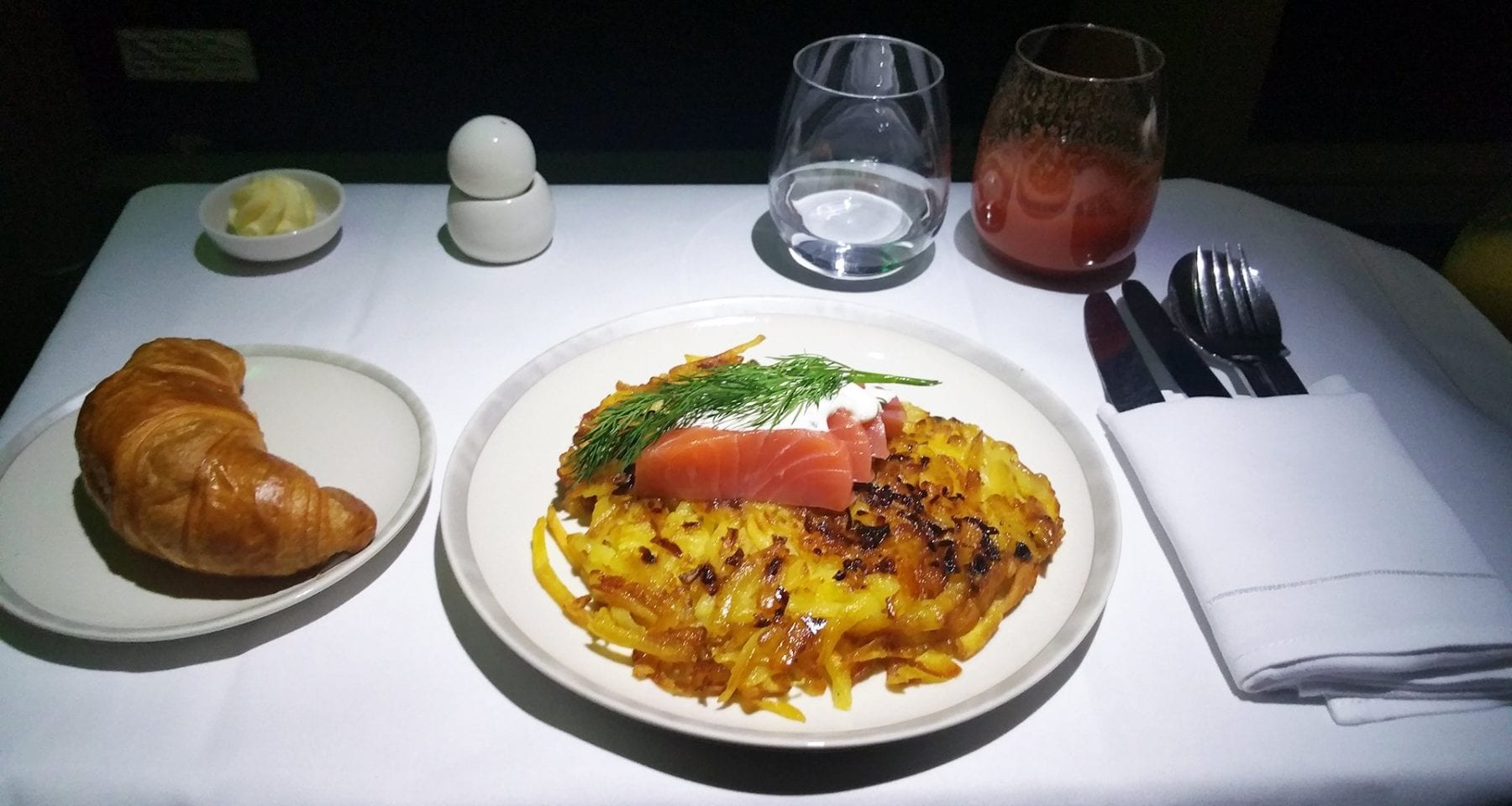 Singapore Airlines Rosti potato dish from Zurich to Singapore in Business Class