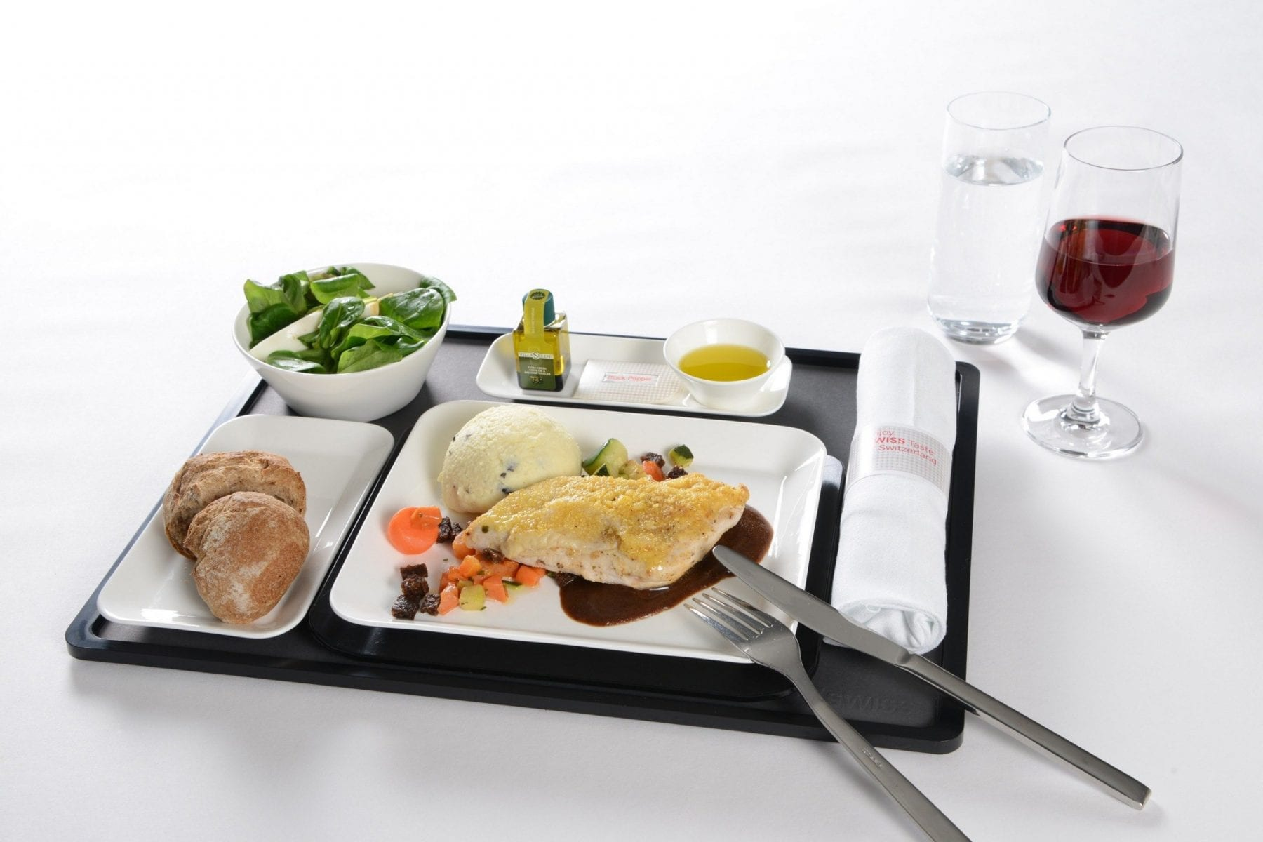 Business Class_Alpstein chicken with PX sauce Swiss Airlines