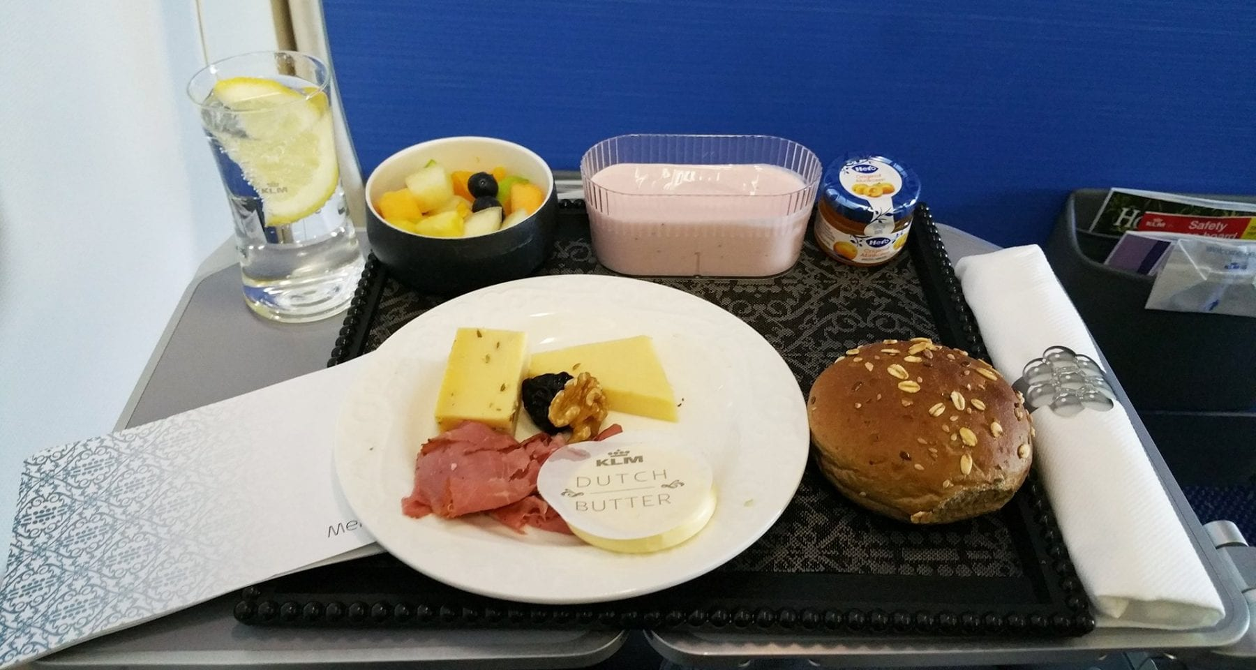 KLM business class inflight breakfast