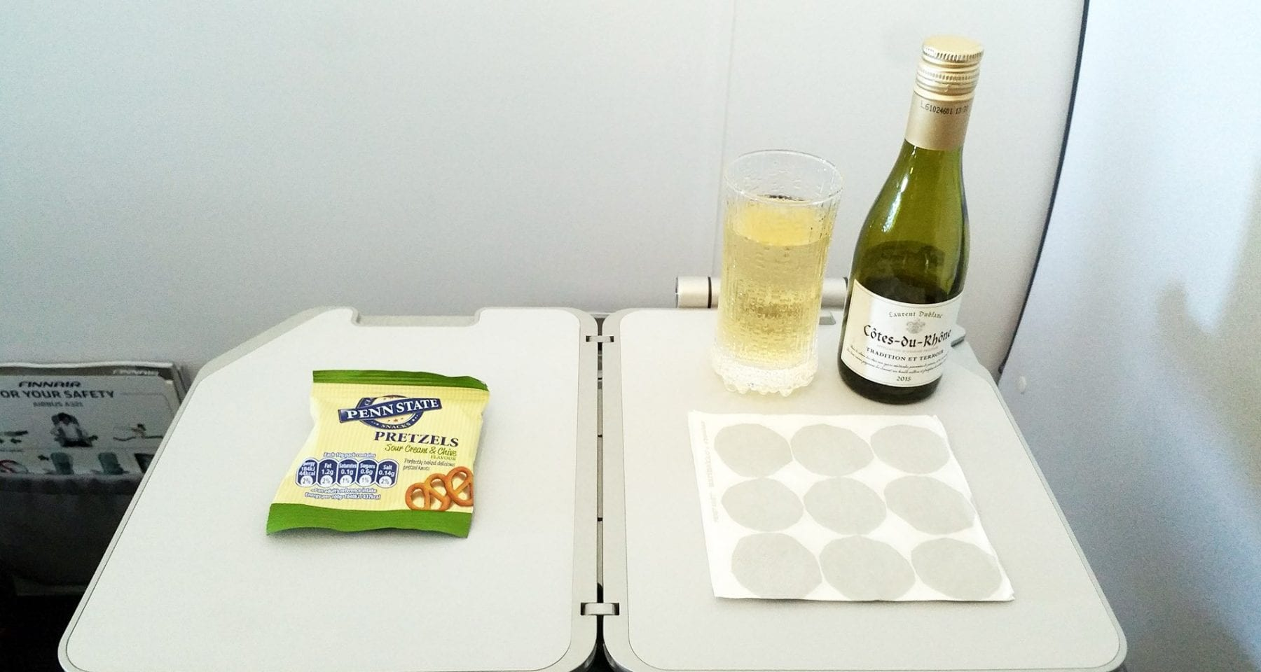 Finnair inflight wine and snack