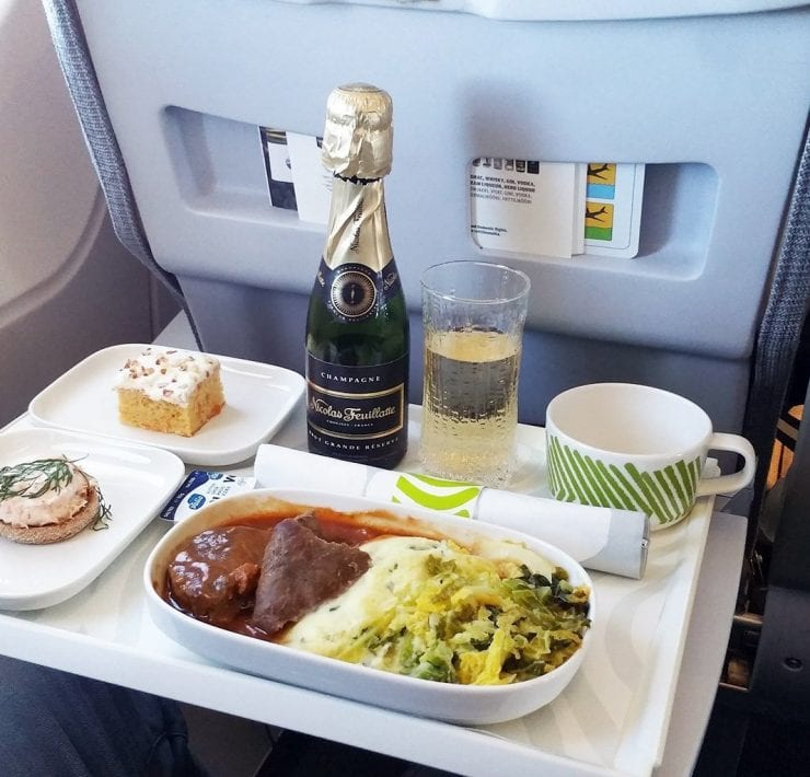 Finnair business class inflight meal