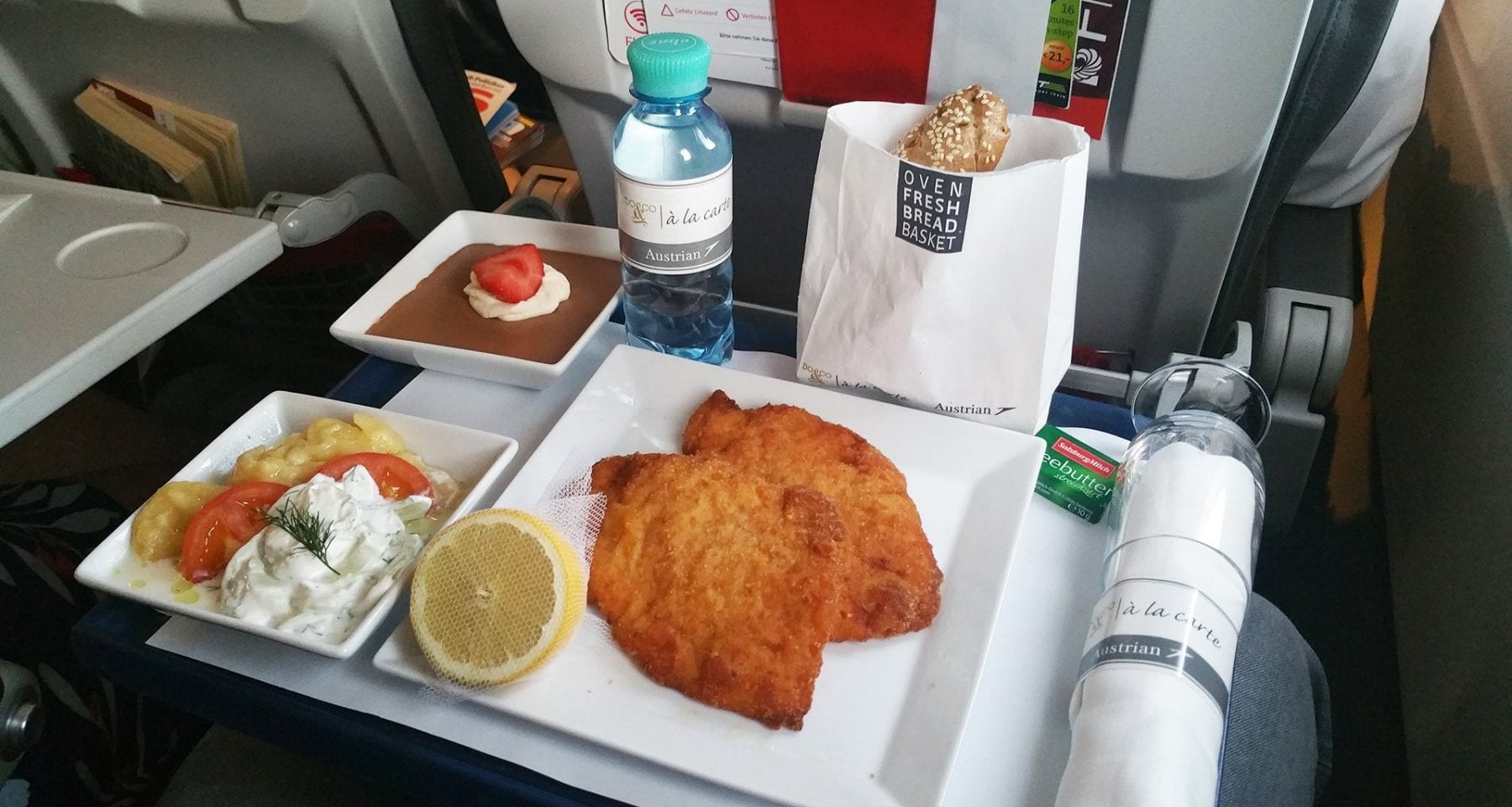 Austrian airlines schnitzel meal economy class upgrade meal by Do&Co