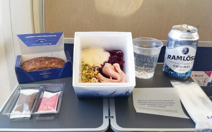 SAS Scandinavian airlines Cube inflight meal