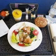 Vienna to Amsterdam with KLM business class meal