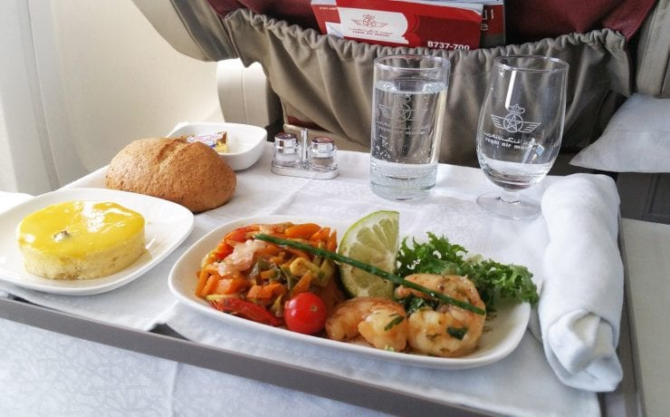 Royal Air Maroc business class meal with prawns and salad