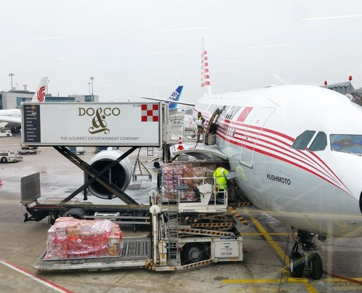 Turkish airlines aircraft serviced by Do&Co inflight catering truck
