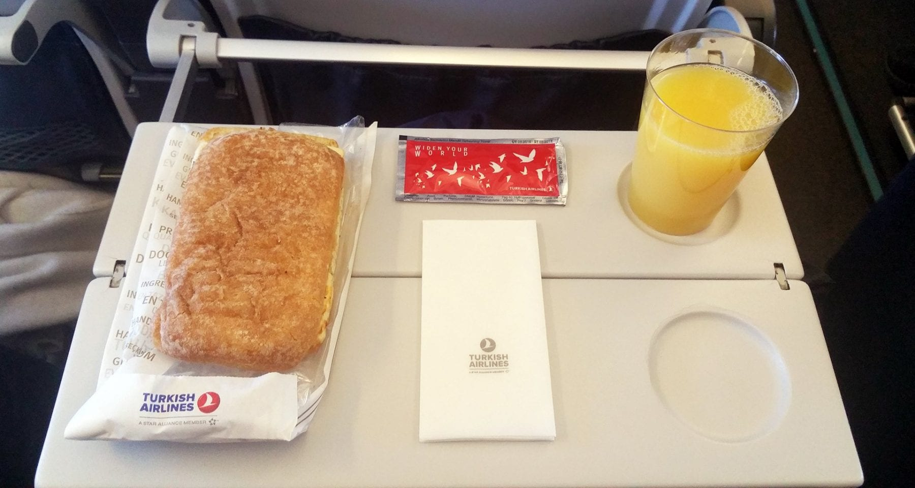 turkish airlines domestic economy class toasted sandwich meal