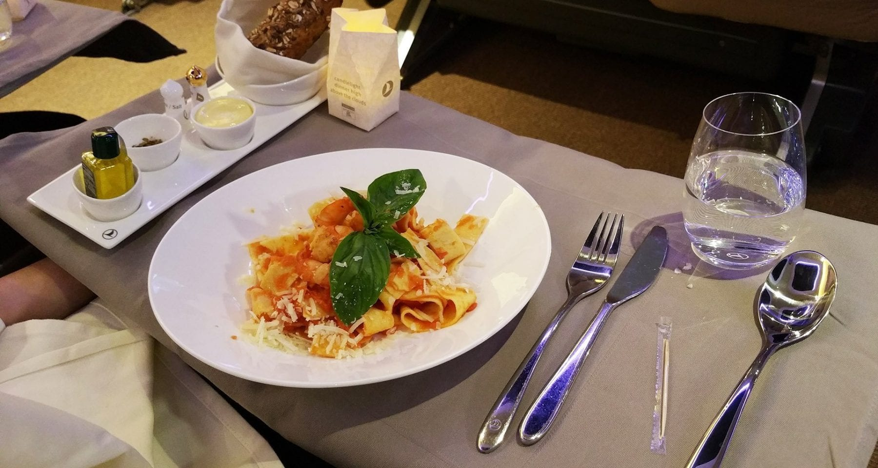 Turkish Airlines business class pasta meal