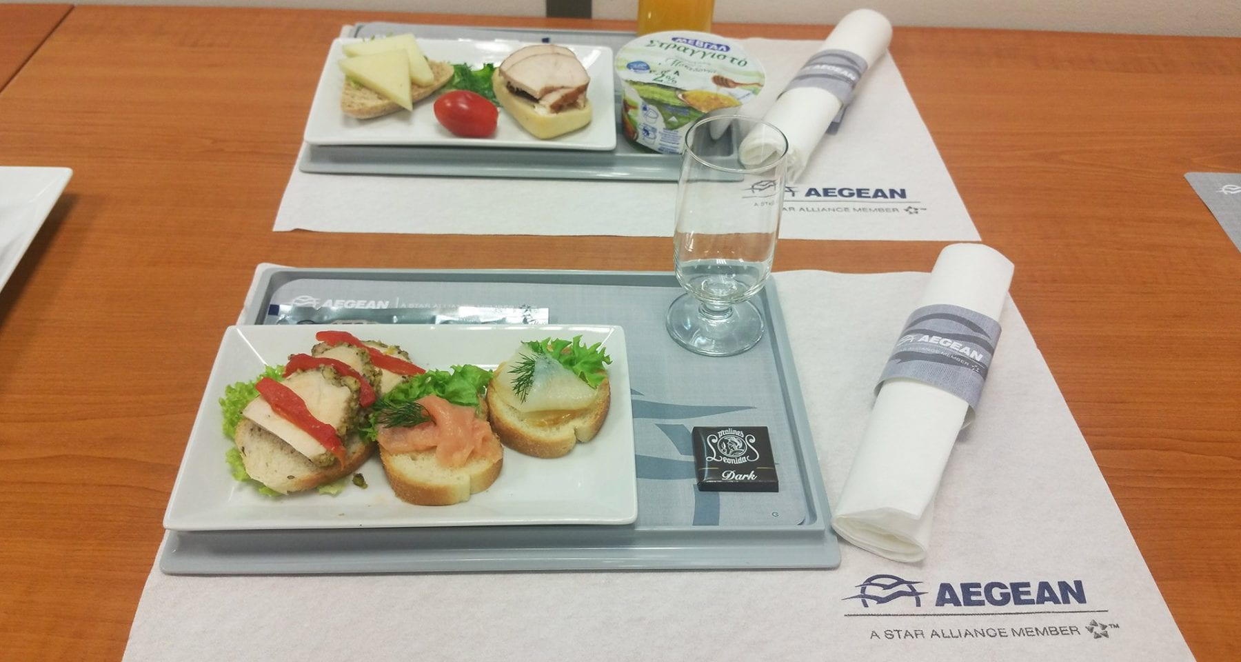Aegean Airlines business class meal domestic flights