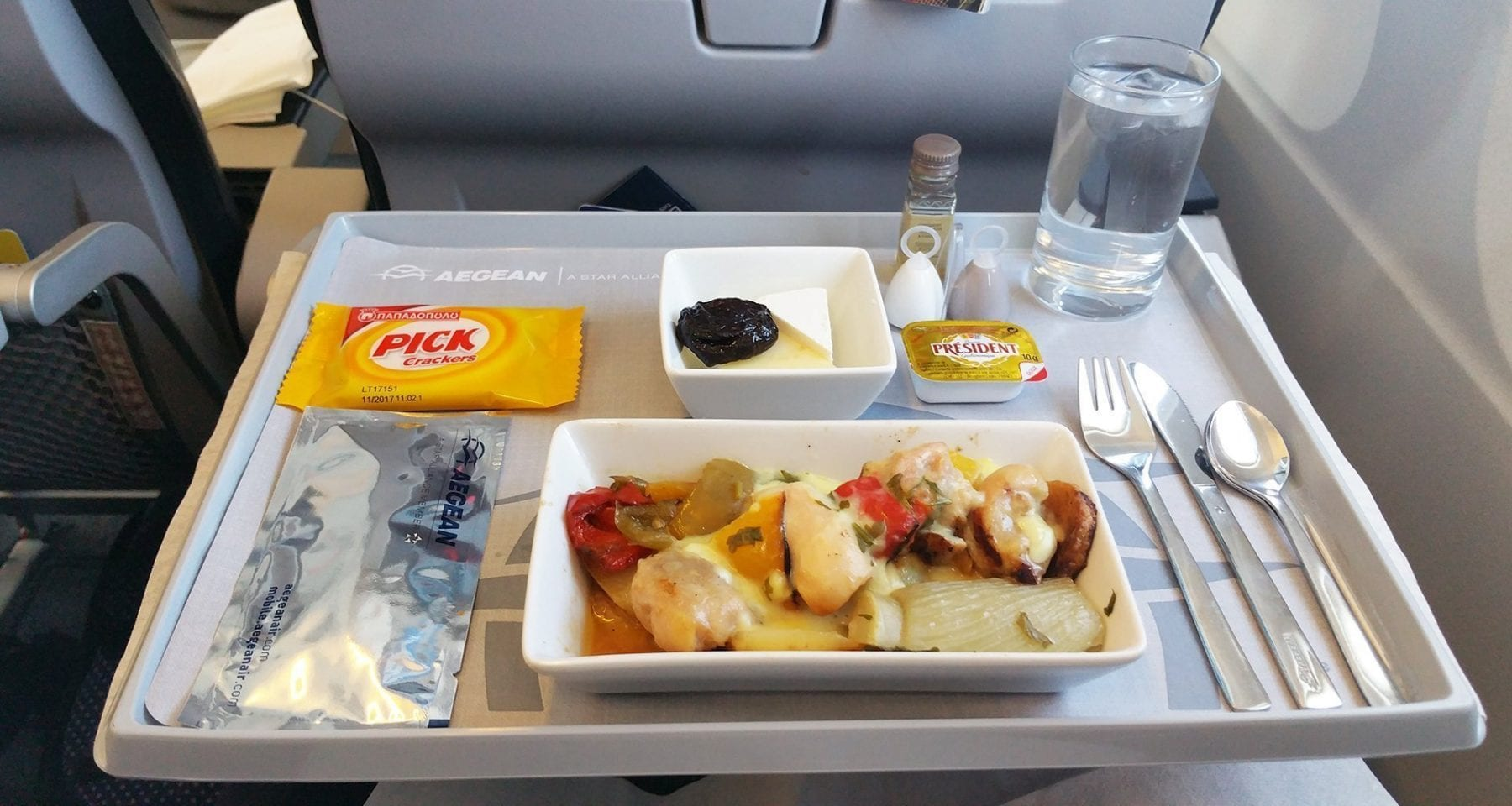Aegean Airlines business class meal