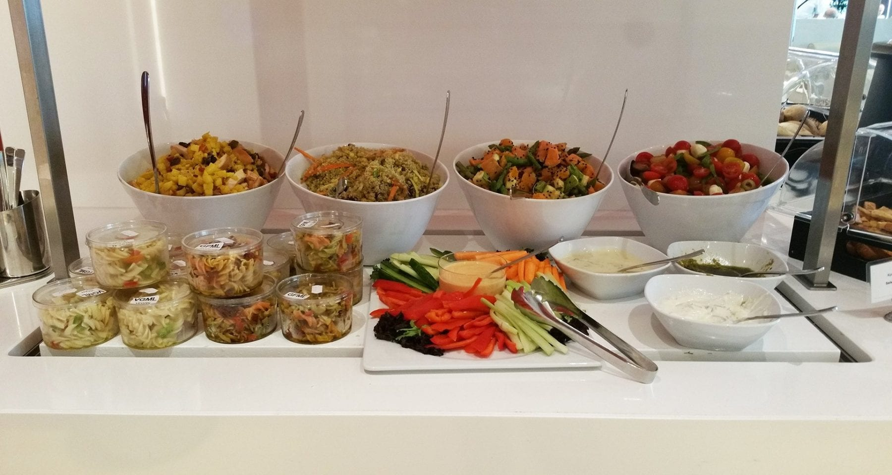 Fresh salads Aegean Airlines lounge food Athens airport