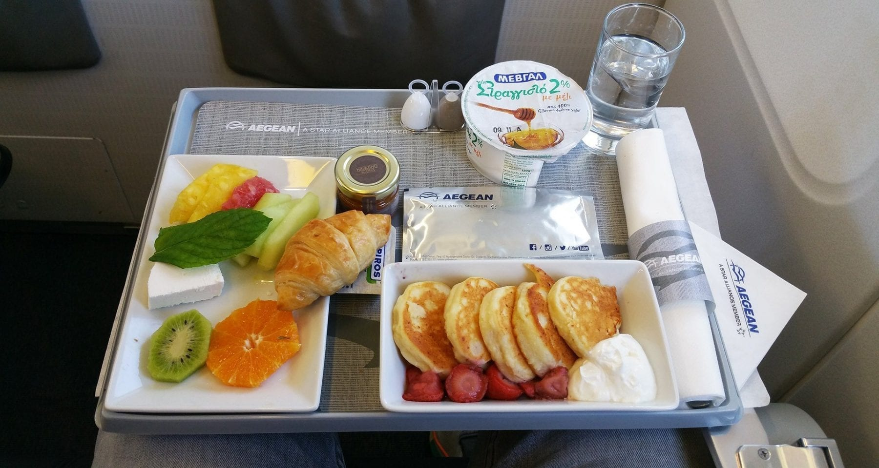 Aegean airlines meal in business class: pancakes