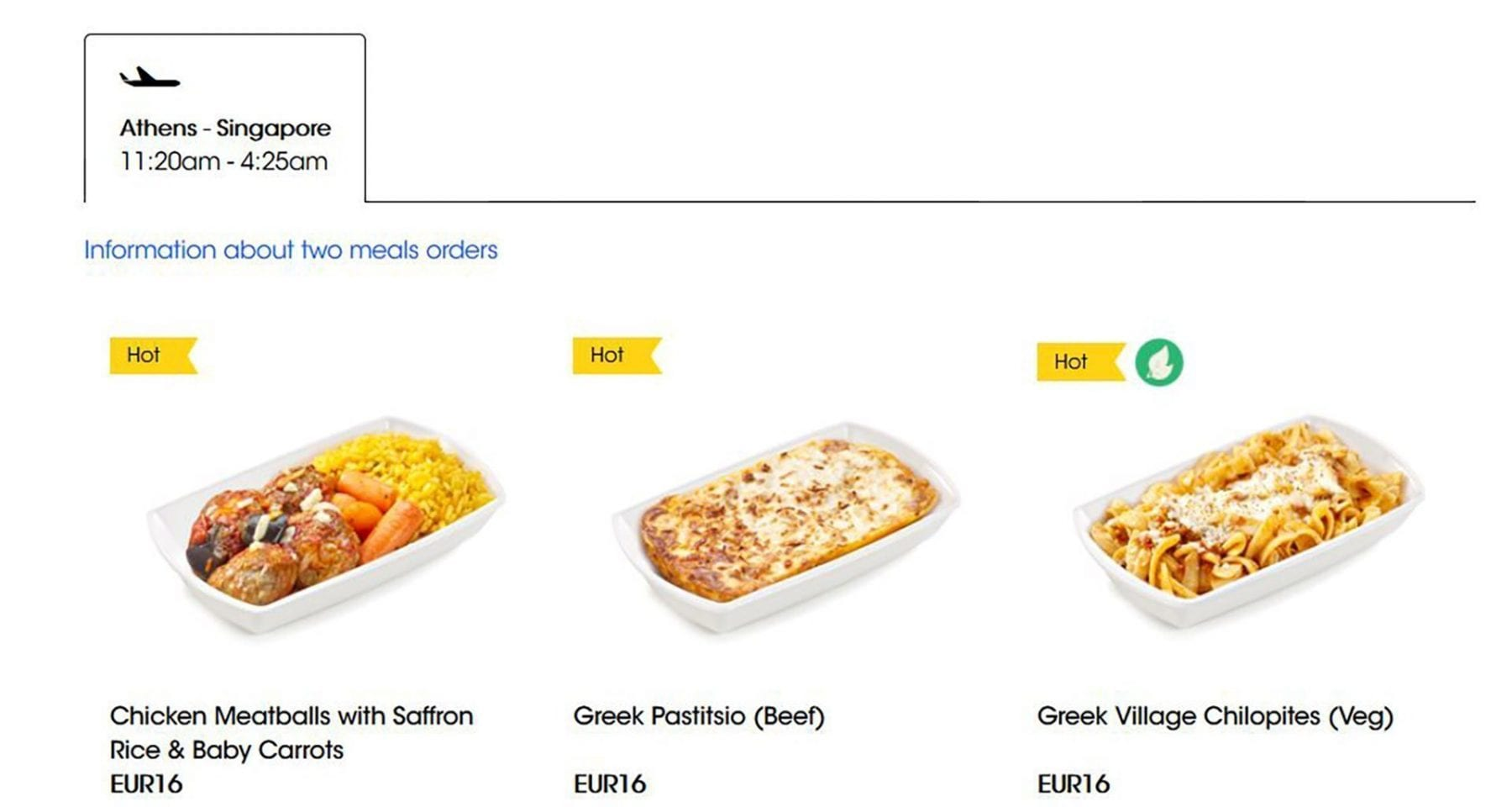 scoot airlines meal selections