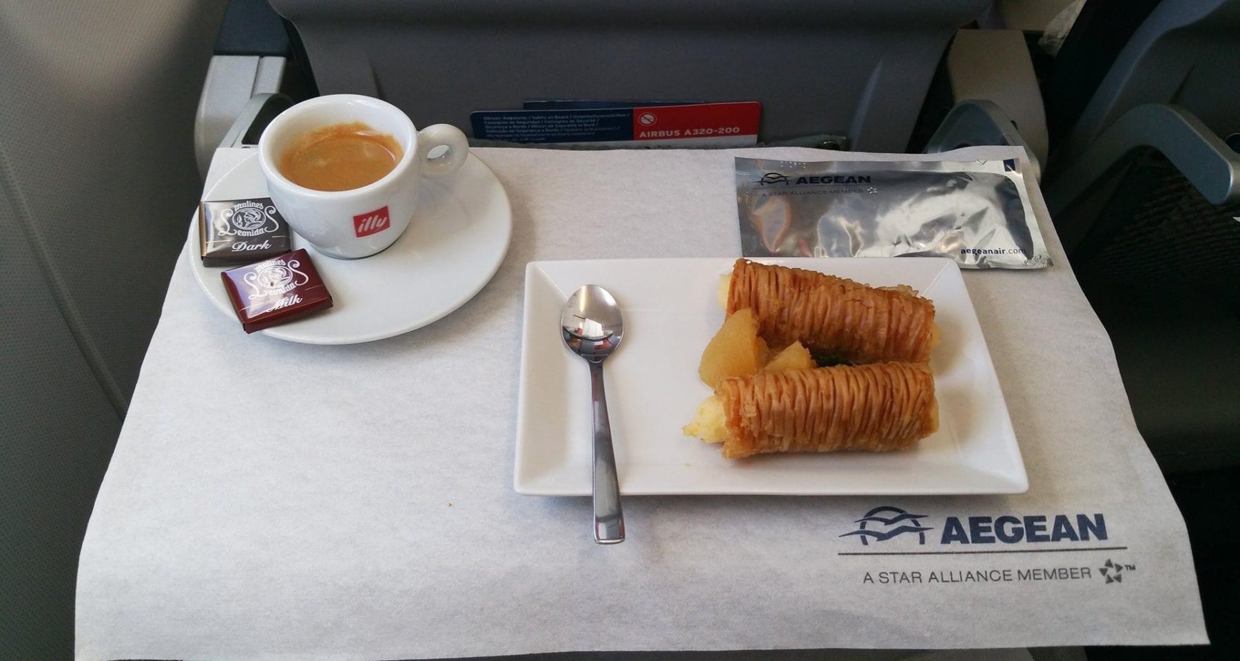 Aegean airlines business class dessert