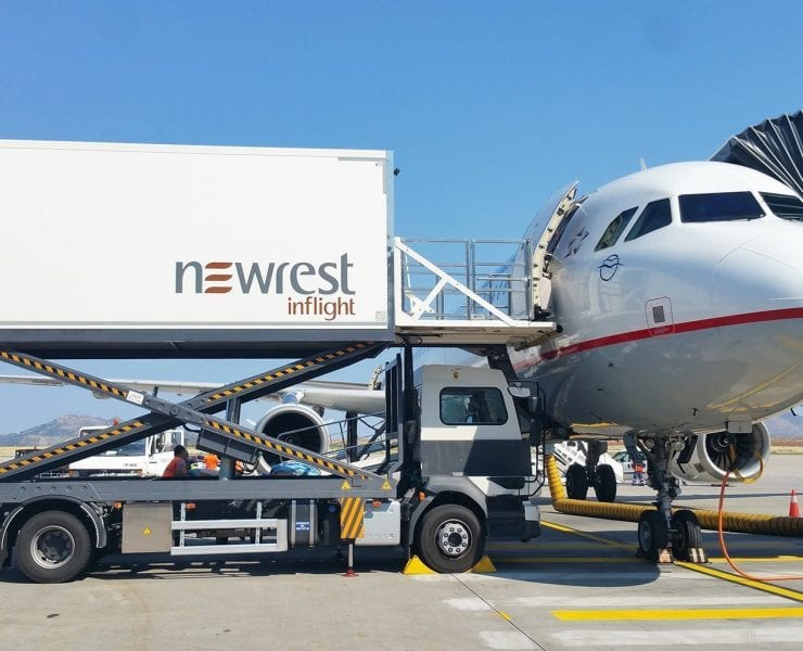 Aegean airlines aircraft catered by Newrest catering at Athens Airport