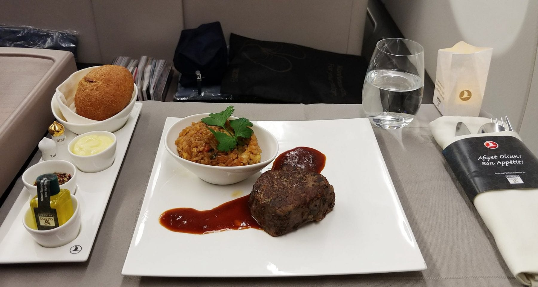 Turkish airlines business class beef meal