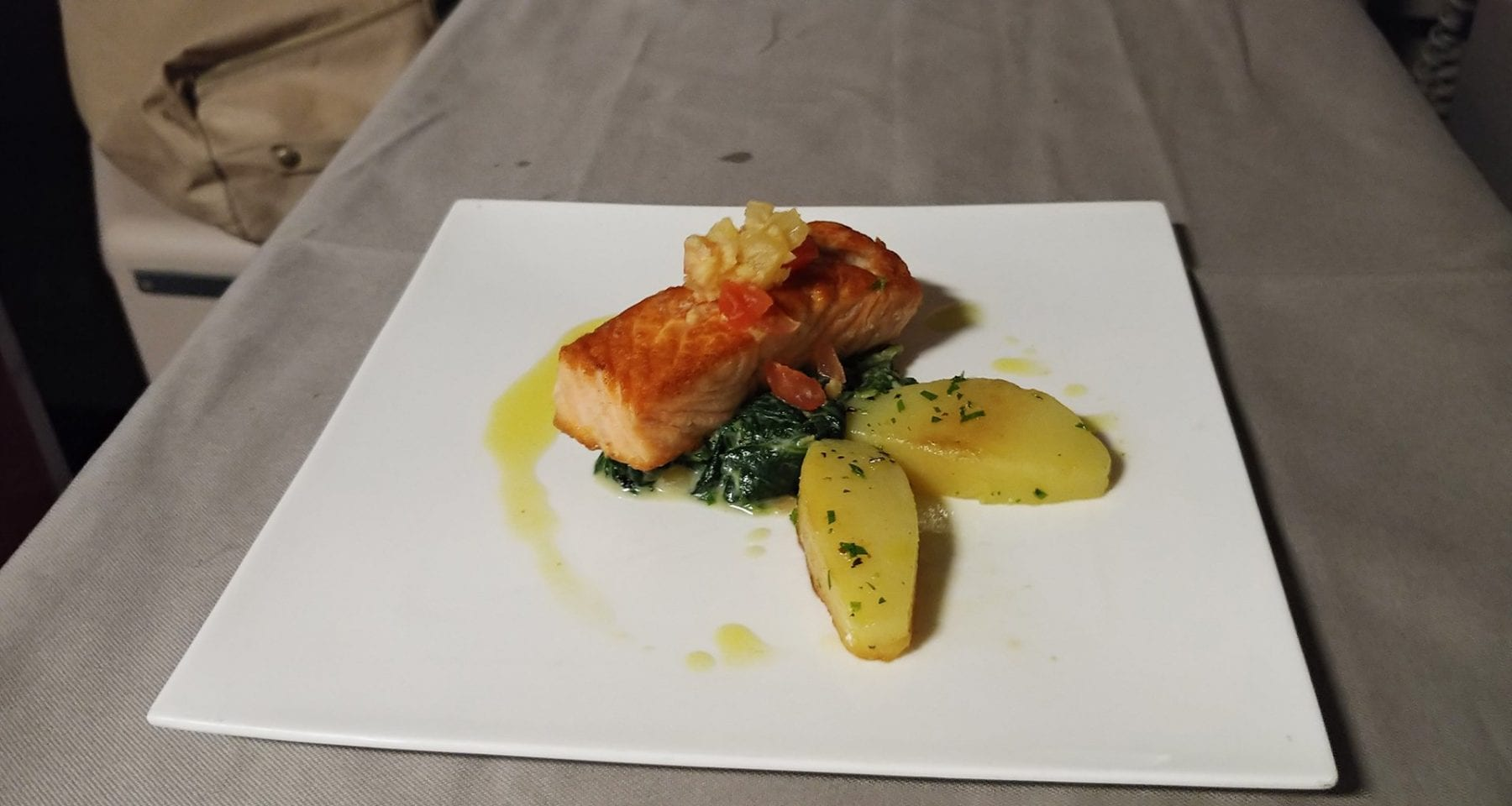 Turkish airlines business class salmon meal
