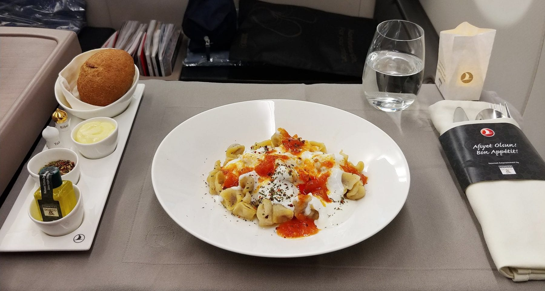 Turkish Airlines Manti Business Class Meal
