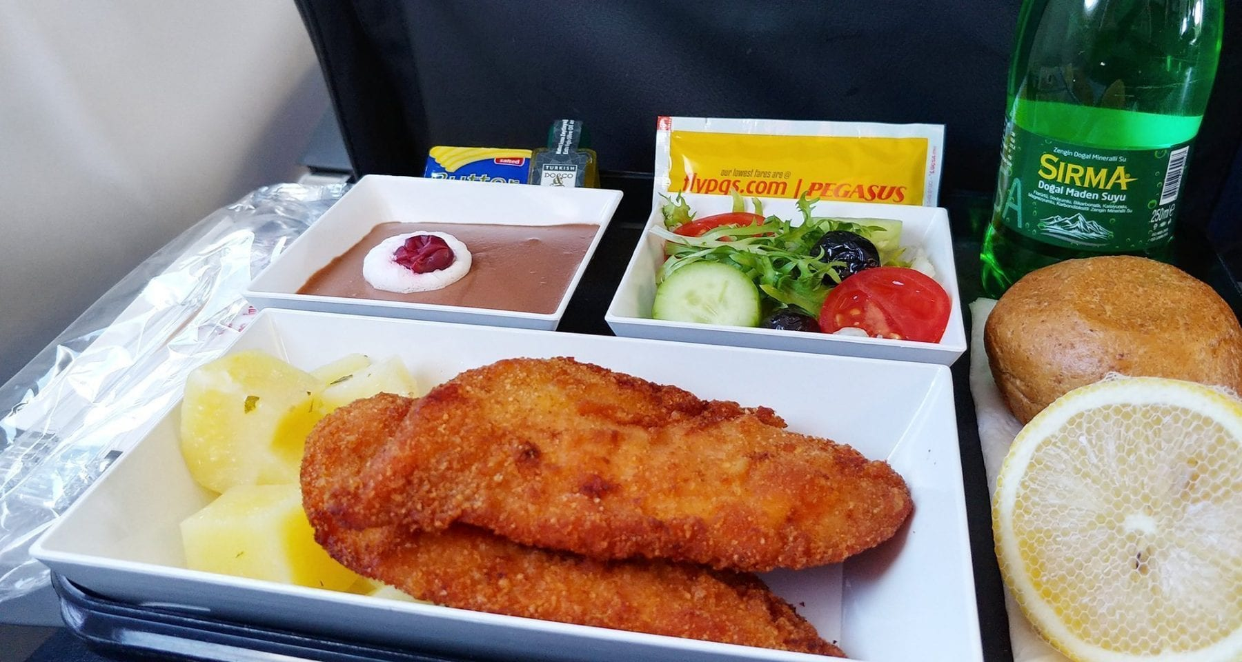 chicken schnitzel pegasus airlines economy class meal