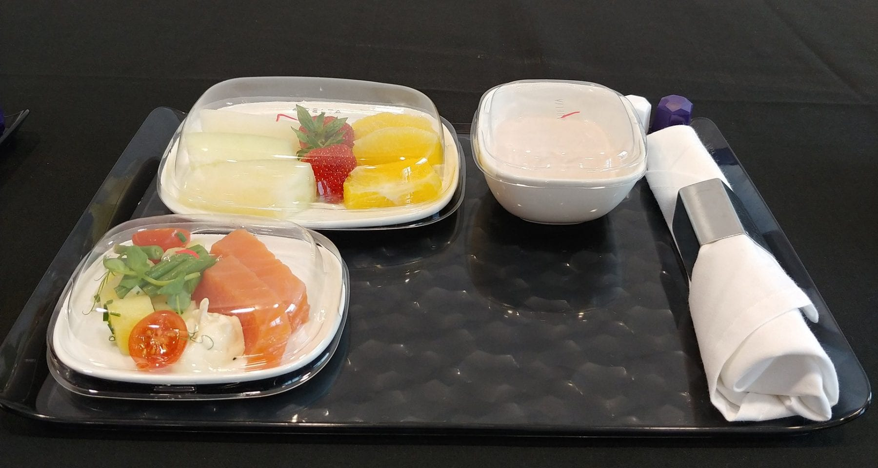 Delta Airlines business class meal tray