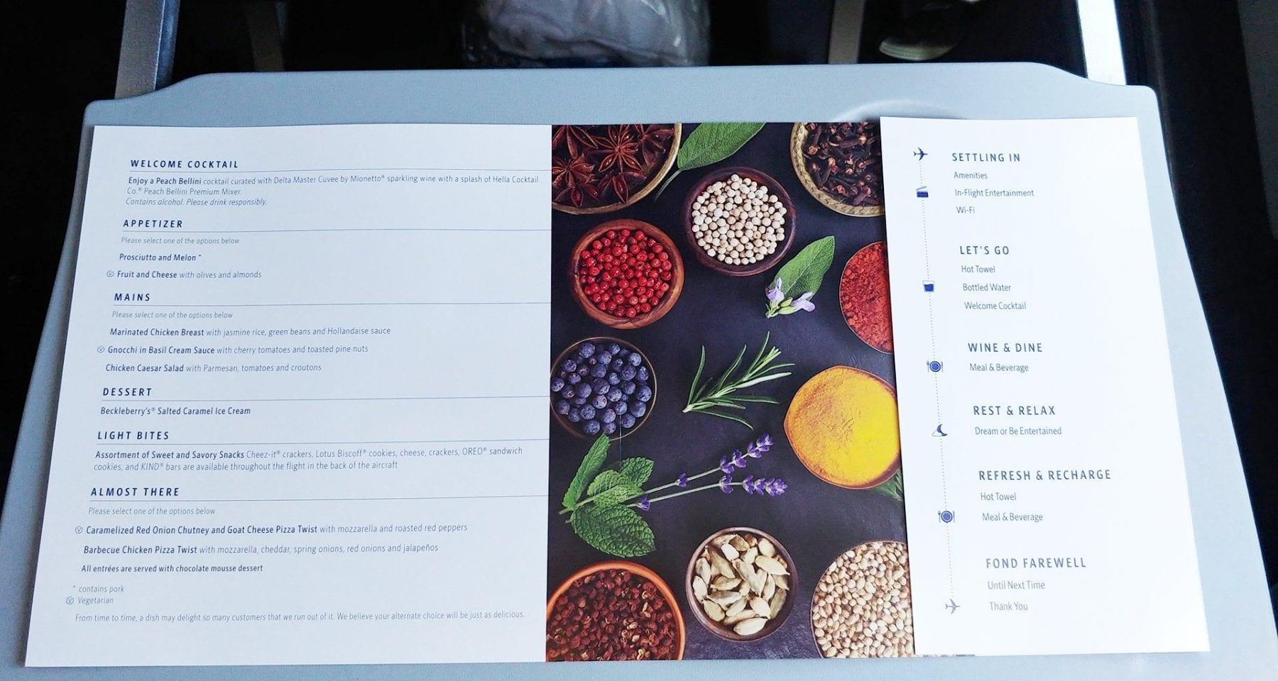 Delta economy class inflight menu