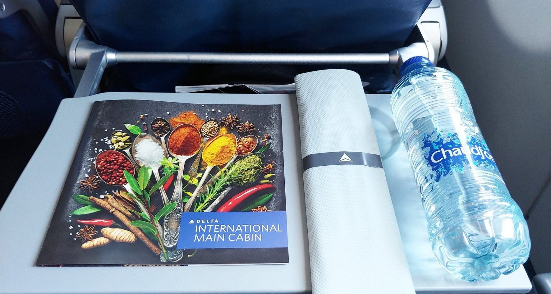 delta airlines inflight menu and water main cabin