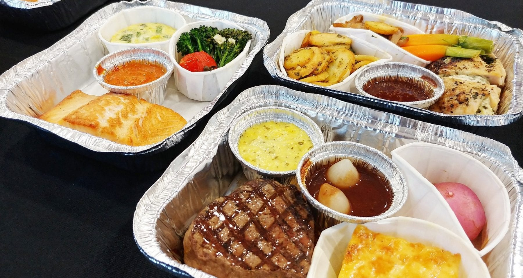 Delta One inflight meals galley