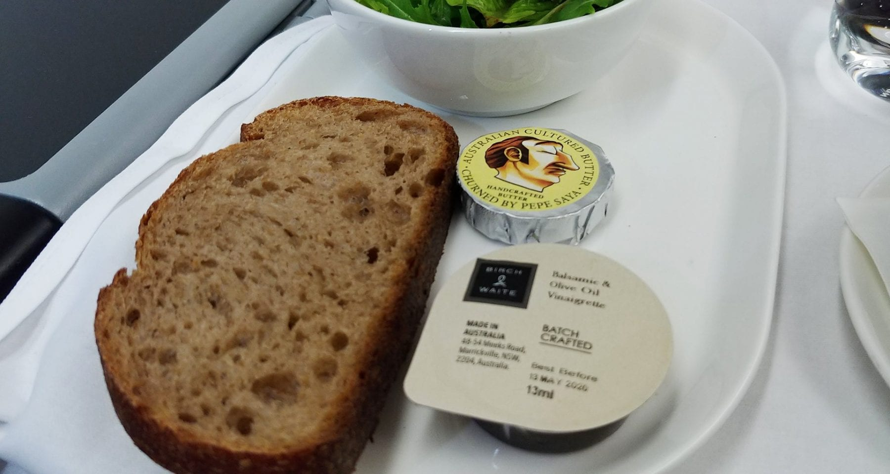 Bread and Pepe Saya butter Qantas Business Class
