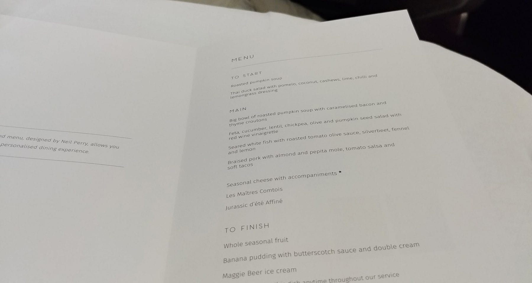 Qantas Inflight Menu Business Class Domestic