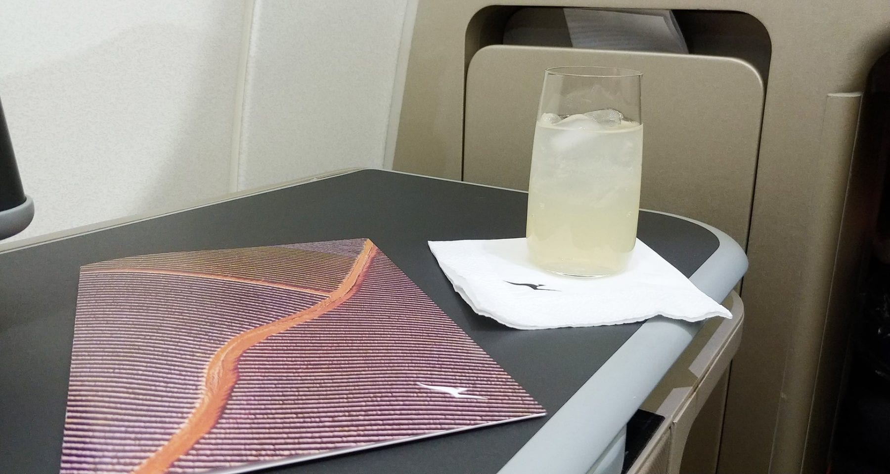 Qantas inflight welcome drink and menu business class