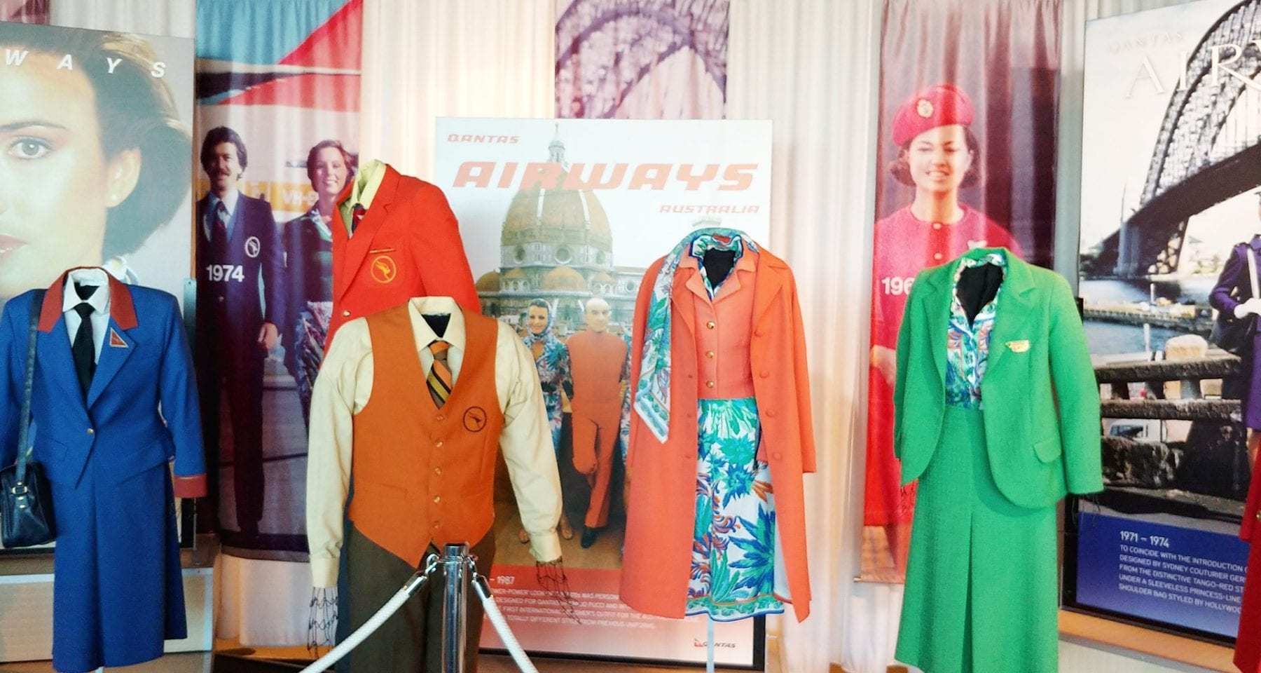 Qantas museum flight attendant uniforms from the past