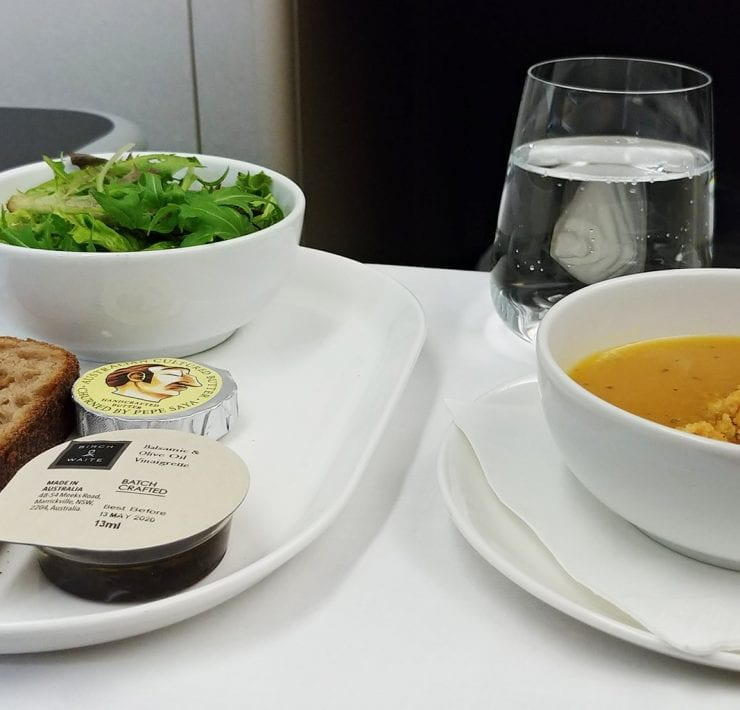 Qantas business class soup starter